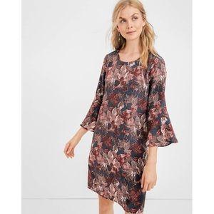 Garnet Hill Floral Bell Shift 100% Silk Dress